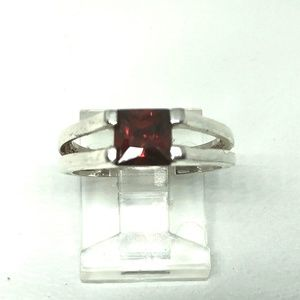 Vintage Sterling Silver Square Red Crystal Ring